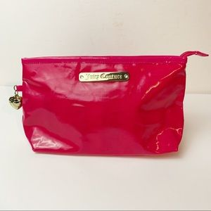 Juicy Couture Zippered Cosmetic Travel Pouch Pink Logo Gold Hardware Y2K